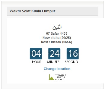 waktu solat 1dunia Waktu Solat Countdown WordPress Plugin