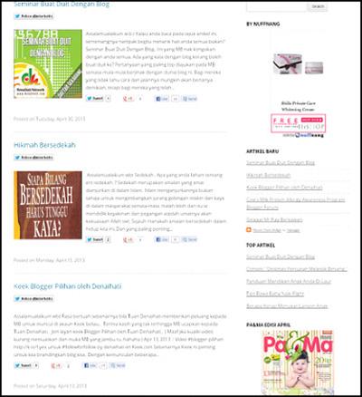 widget sidebar homepage