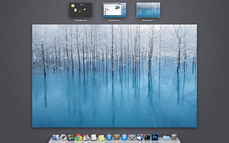 Kawalan desktop pada paparan Mac OS X