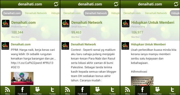 Paparan Facebook Page di aplikasi Android Denaihati