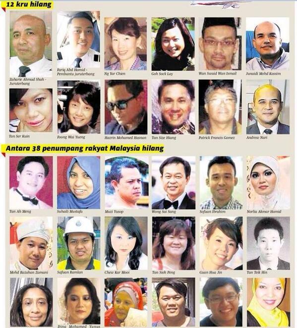 gambar mangsa kehilangan misteri MH370