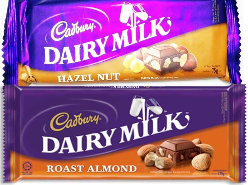 gambar coklat cadbury dairy milk hazelnut dan almond