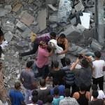 mayat palestine Gaza yang dikeluarkan dari runtuhan