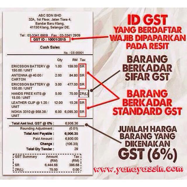 Resit GST yang betul