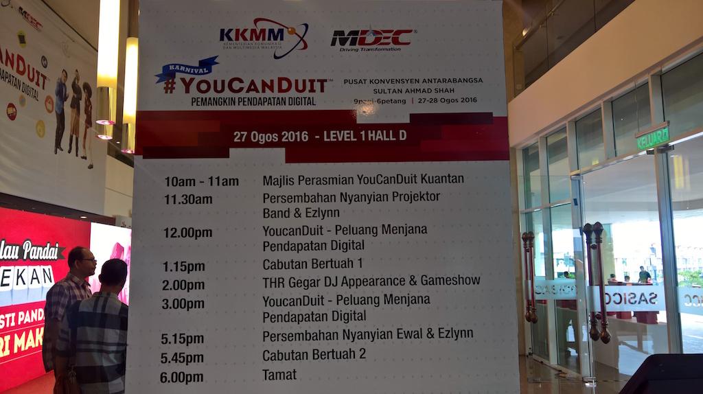 Jadual YouCanDuit Kuantan Day 1